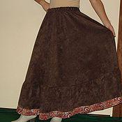 Одежда ручной работы. Ярмарка Мастеров - ручная работа Юбка длинная полусолнце теплая коричневая. Handmade.