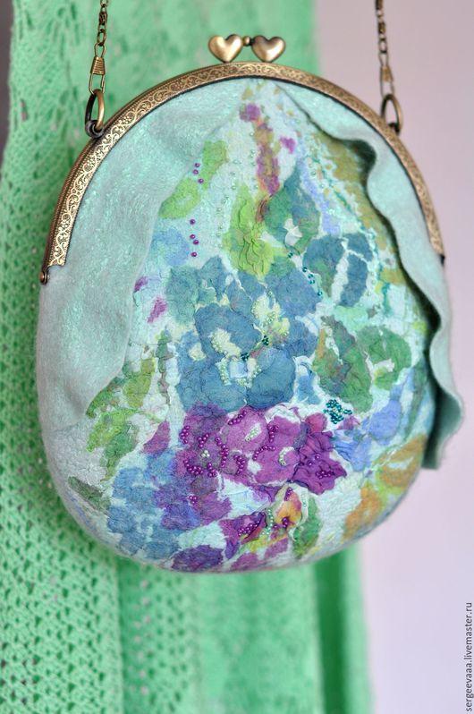 Женские сумки ручной работы. Ярмарка Мастеров - ручная работа. Купить Валяная сумка, мятная, летняя, яркая. Handmade. Мятный