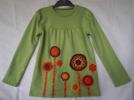 Одежда для девочек, ручной работы. Ярмарка Мастеров - ручная работа. Купить зеленый лонгслив с вязаными элементами. Handmade. Зеленый, лонгслив