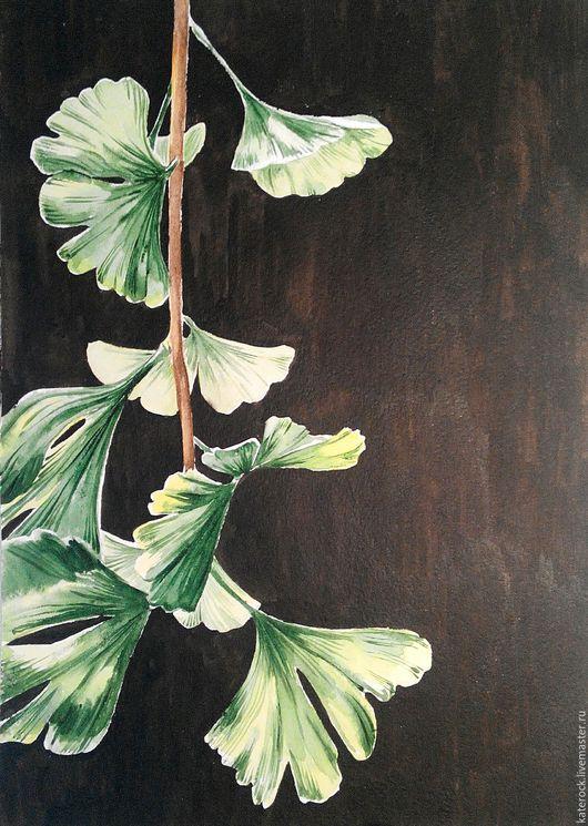 Картины цветов ручной работы. Ярмарка Мастеров - ручная работа. Купить Гинкго (акварель). Handmade. Комбинированный, картина в гостиную, растение
