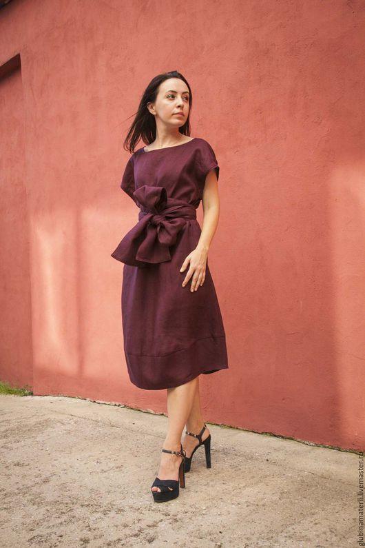 """Платья ручной работы. Ярмарка Мастеров - ручная работа. Купить Платье """"Японское"""" с поясом ОБИ, бордо,100% лён. Handmade."""