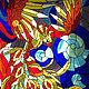 """Элементы интерьера ручной работы. Ярмарка Мастеров - ручная работа. Купить Витражная картина """"Феникс - птица счастья"""". Handmade. Витраж"""