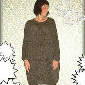 Одежда ручной работы. Ярмарка Мастеров - ручная работа Теплое вязаное платье-свитер коричневое. Handmade.