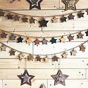 Сувениры и подарки handmade. Livemaster - original item Garland wooden stars. Handmade.