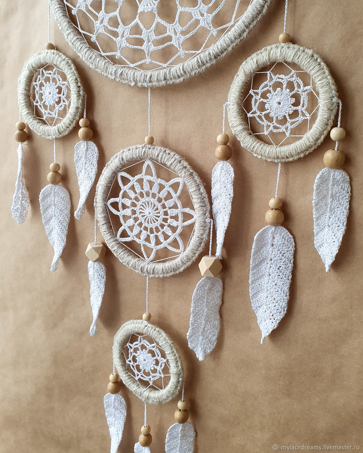 Large white dream catcher with crocheted feathers, Dream catchers, St. Petersburg,  Фото №1