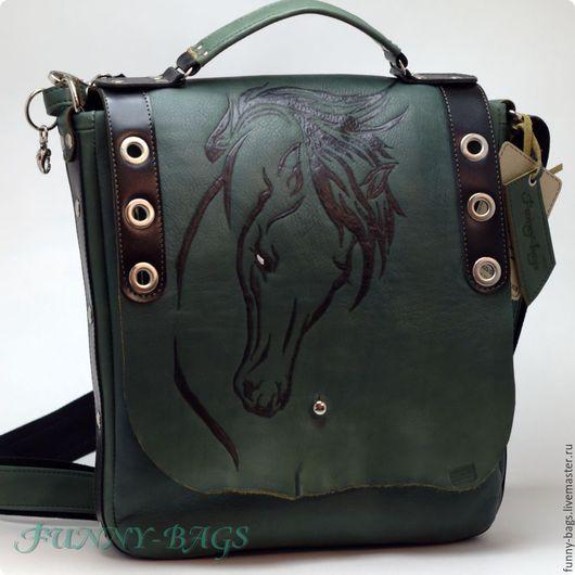 """Мужские сумки ручной работы. Ярмарка Мастеров - ручная работа. Купить Кожаная сумка """"Конь 2"""". Handmade. Тёмно-зелёный"""