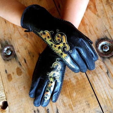 "Accessories handmade. Livemaster - original item Black leather gloves.Unique design gloves.""The golden coffee"" Size 8.5. Handmade."