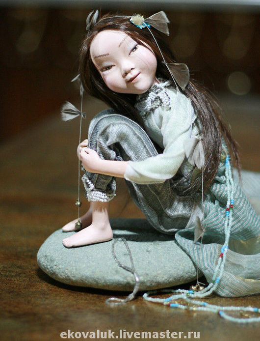 Коллекционные куклы ручной работы. Ярмарка Мастеров - ручная работа. Купить Бирюзовая Катунь. Handmade. Девочка, старинный бисер