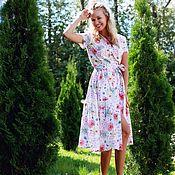 Одежда ручной работы. Ярмарка Мастеров - ручная работа Хлопковое платье миди с кружевом. Handmade.