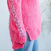 handmade. Livemaster - original item Hot pink oversize jumper made of mohair and alpaca wool. Handmade.