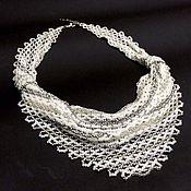 Украшения handmade. Livemaster - original item Wedding necklaces solitaire beaded white. Handmade.