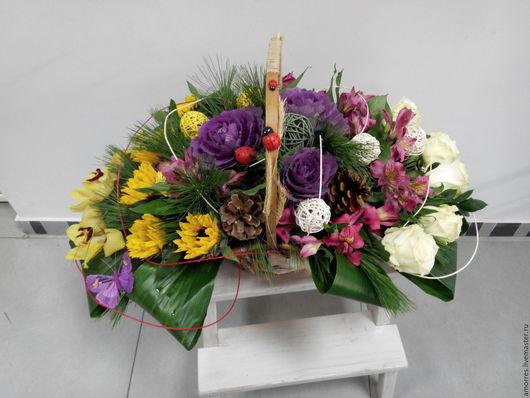 """Букеты ручной работы. Ярмарка Мастеров - ручная работа. Купить Корзина """"Восход"""". Handmade. Разноцветный, розовый, пихта, роза, орхидея"""