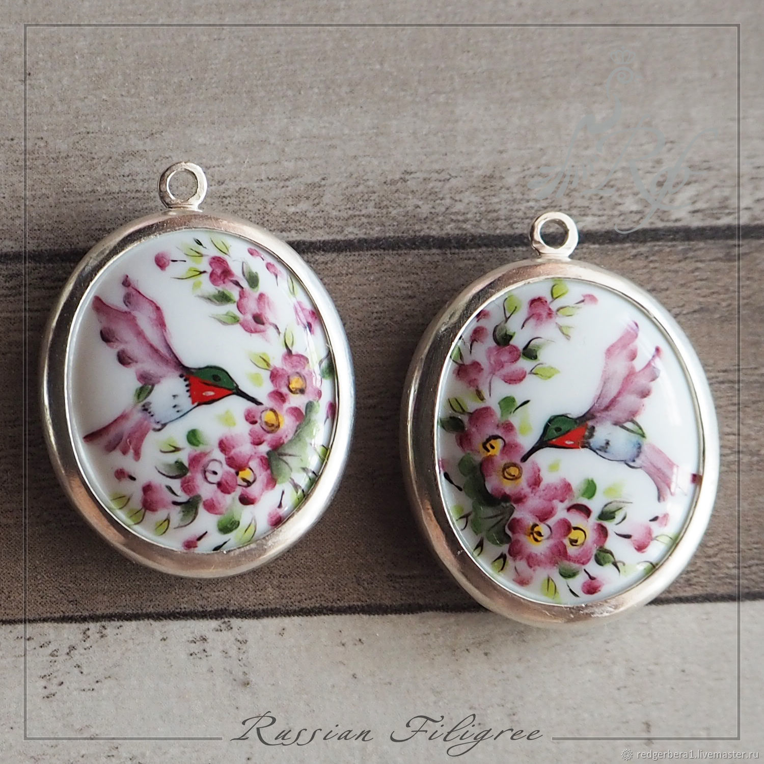 Pendants pair 'Finift' hand-painted, brass, silver, Beads1, Kostroma, Фото №1