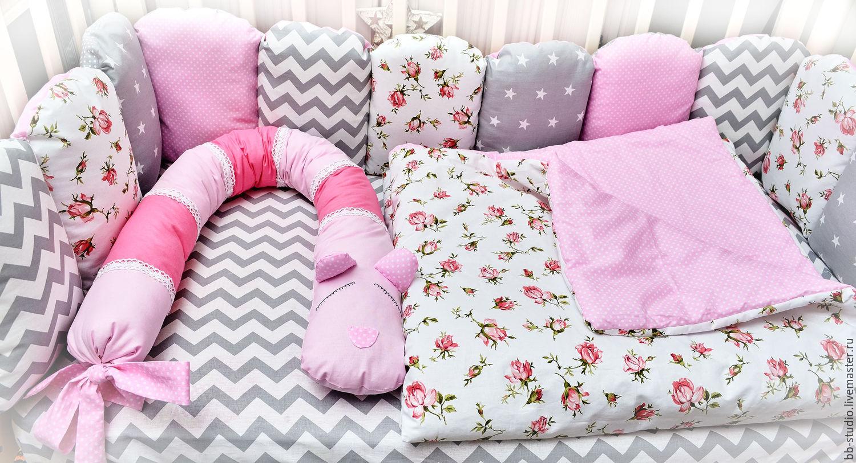 Валики-бортики в детскую кроватку своими руками 79