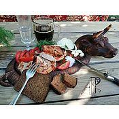 Посуда handmade. Livemaster - original item Wooden Board for serving steak Bullfighting Dish for serving. Handmade.