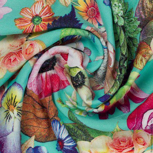 Шитье ручной работы. Ярмарка Мастеров - ручная работа. Купить Штапель вискозный, арт. 25172. Handmade. Комбинированный, штапель с цветами