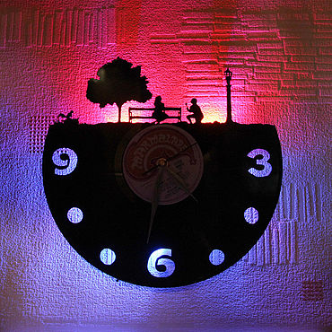 For home and interior handmade. Livemaster - original item Wall clock with LED backlight made of vinyl record Recognition. Handmade.