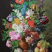"""Картины ручной работы. Ярмарка Мастеров - ручная работа Картина маслом """"Букет цветов с персиками"""".. Handmade."""