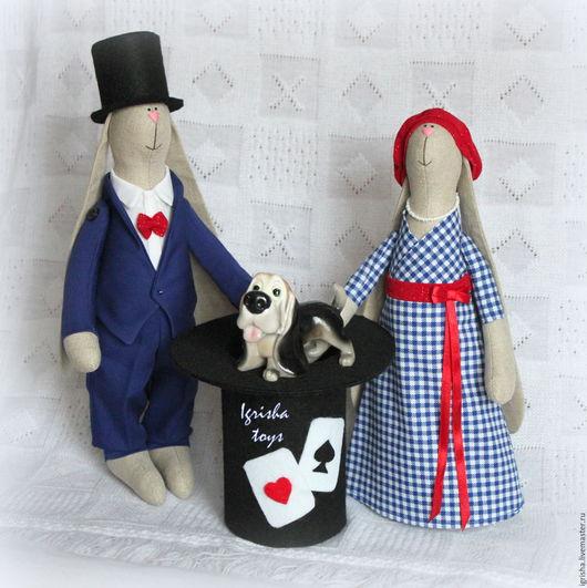 Куклы Тильды ручной работы. Ярмарка Мастеров - ручная работа. Купить Зайцы-фокусники. Handmade. Фокусники, текстильная игрушка