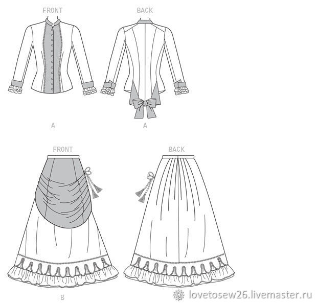SEWING PATTERN Victorian Costume 1870-1880 Draping Front B6305 ...
