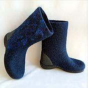 Обувь ручной работы handmade. Livemaster - original item Valenki boots Sapphire with leather heel. Handmade.