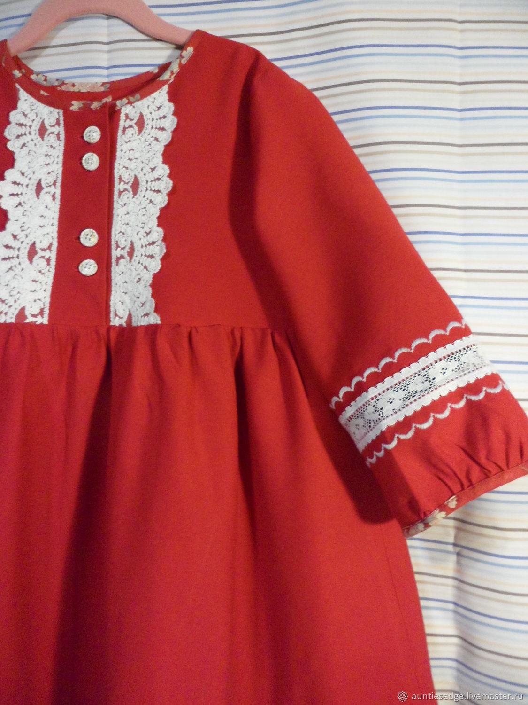 """Платье для девочки костюмный лен """"Серебро. Красный"""", Платье, Курск,  Фото №1"""