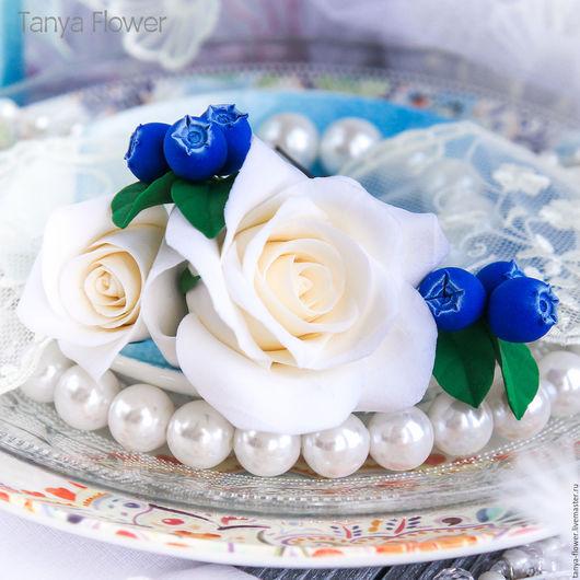 Свадебные украшения ручной работы. Ярмарка Мастеров - ручная работа. Купить Набор шпилек с розами и голубикой. Handmade. Украшение для волос