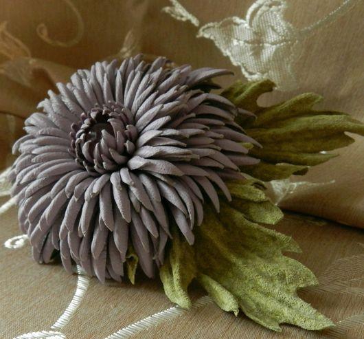Броши ручной работы. Ярмарка Мастеров - ручная работа. Купить Цветок из кожи Хризантема. Handmade. Цветы из кожи, натуральная кожа