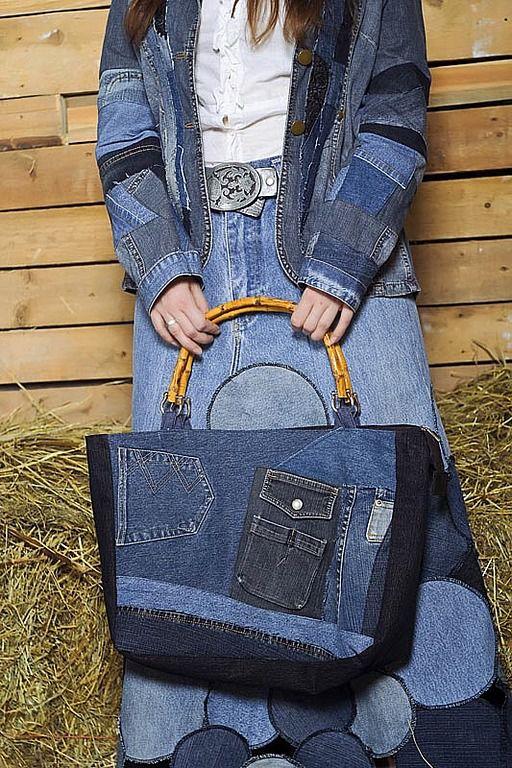 Сумка из джинсовой рубашки