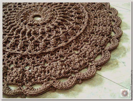 Текстиль, ковры ручной работы. Ярмарка Мастеров - ручная работа. Купить Вязаный коврик из шнура МЕЧТА-2. Handmade. Коричневый