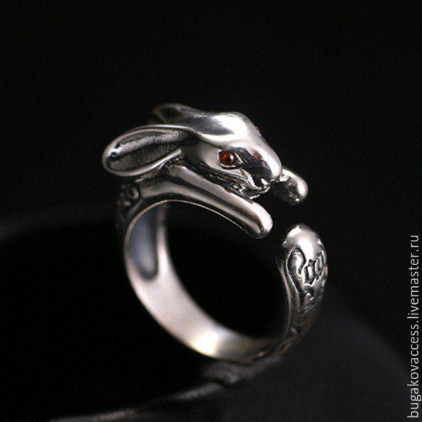 Кольца ручной работы. Ярмарка Мастеров - ручная работа. Купить Кольцо Зайка из серебра 925 с красными цирконами. Handmade.