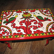 Stools handmade. Livemaster - original item Wooden painted bench, wooden seat, foot rest, for children, Russian fi. Handmade.