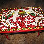Русский стиль handmade. Livemaster - original item Wooden painted bench, wooden seat, foot rest, for children, Russian fi. Handmade.