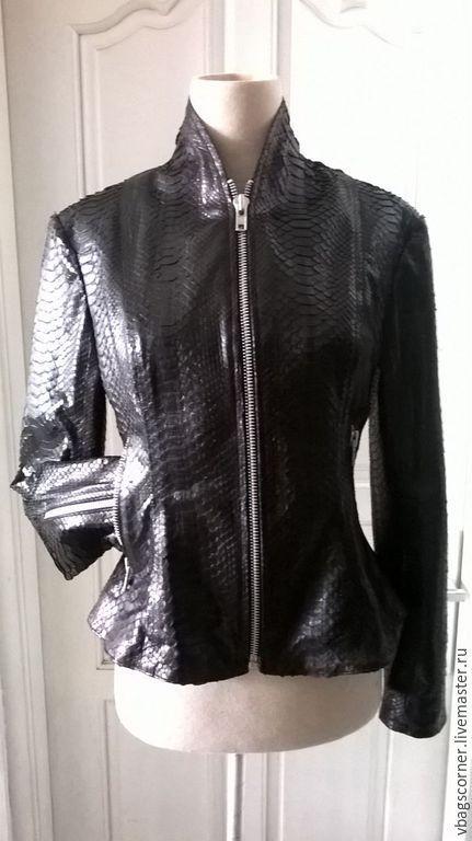 Верхняя одежда ручной работы. Ярмарка Мастеров - ручная работа. Купить Куртка из натуральной кожи питона. Handmade. Черный, хендмейд