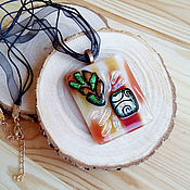 Украшения handmade. Livemaster - original item glass pendant Autumn bouquet-fusing. Dichroic glass.. Handmade.