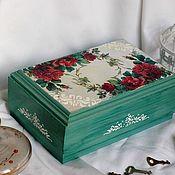 Для дома и интерьера handmade. Livemaster - original item Casket Rose Garden solid pine decoupage. Handmade.