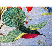 """Картины и панно ручной работы. Ярмарка Мастеров - ручная работа """"Птичка Колибри"""", художественная вышивка шелком. Handmade."""