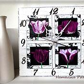 Для дома и интерьера ручной работы. Ярмарка Мастеров - ручная работа часы Лиловые тюльпаны. Handmade.