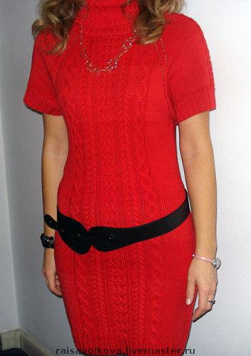 Платья ручной работы. Ярмарка Мастеров - ручная работа. Купить Платье красное. Handmade. Вязаное платье, спицы