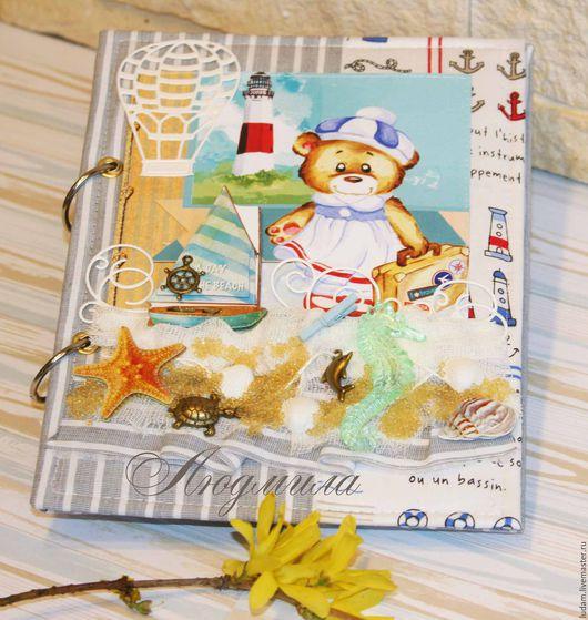 Блокноты ручной работы. Ярмарка Мастеров - ручная работа. Купить Мамин блокнот, дневник в морском стиле для девочки. Handmade. Мятный
