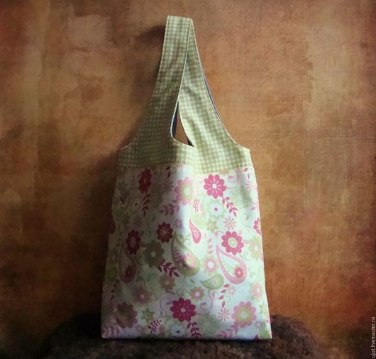 Сумки и аксессуары ручной работы. Ярмарка Мастеров - ручная работа. Купить Экосумка из ткани маленькая, авоська, майка, салатовый, цветочки. Handmade.
