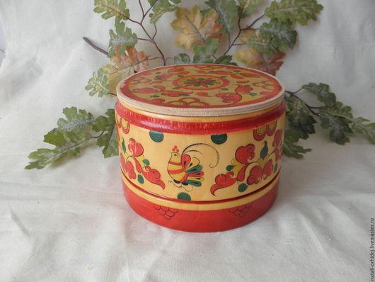 Короб деревянный с росписью.(винтаж). Посуда ручной работы.Короб для хранения, русский сувенир. Ярмарка мастеров.