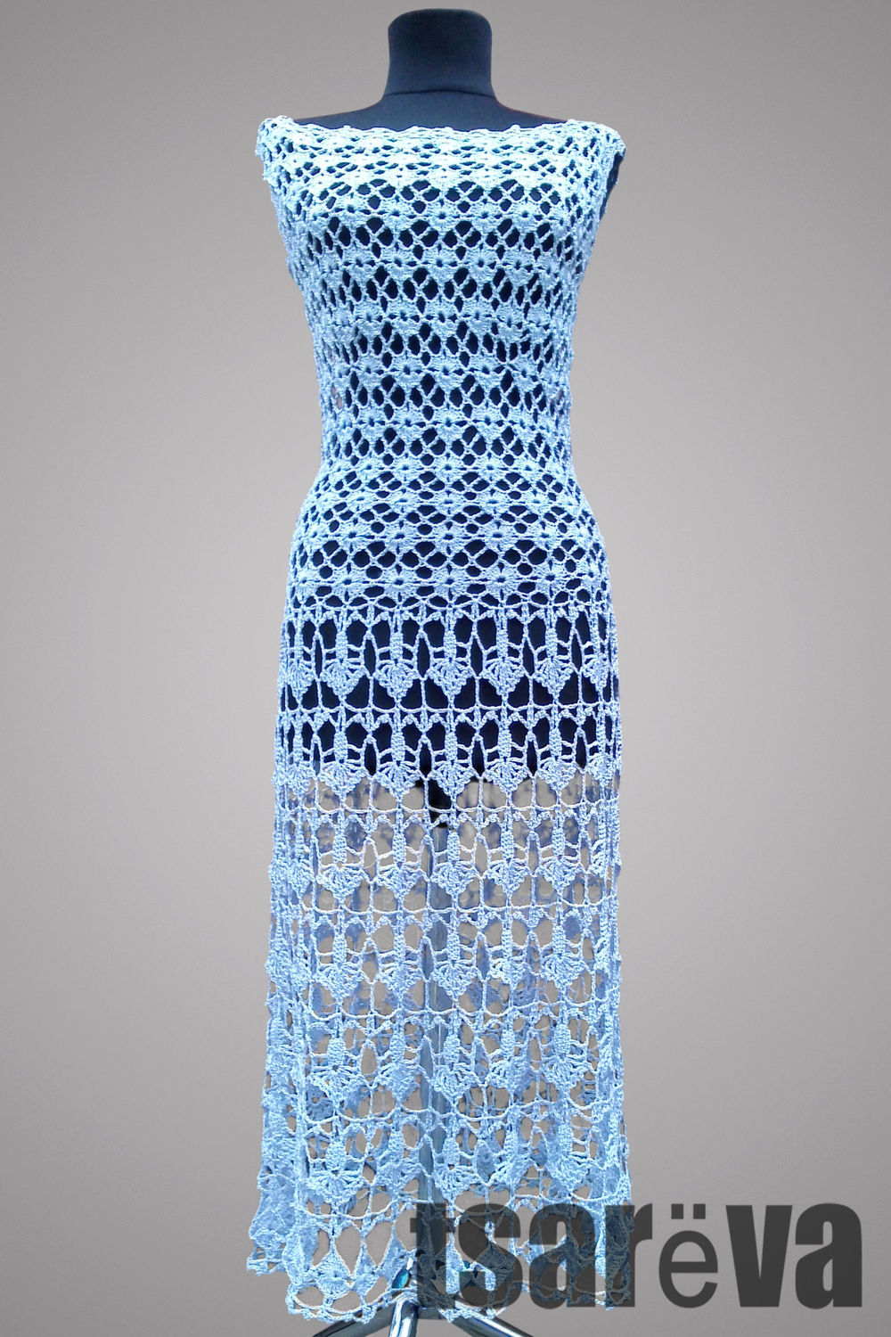 Crochet dress Aquarius. Elegant blue women handmade lace crochet dress, Dresses, Odessa,  Фото №1