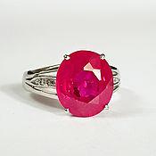 """Серебряное кольцо: позолота, рубин, сапфиры """"Огонь"""""""