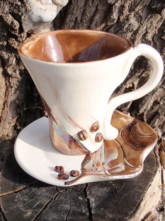 """Сервизы, чайные пары ручной работы. Ярмарка Мастеров - ручная работа. Купить Чайная пара """"Утренний кофе"""". Handmade. Коричневый"""