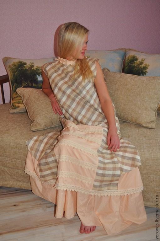 Платья ручной работы. Ярмарка Мастеров - ручная работа. Купить Платье-сарафан бохо с нижней юбкой.. Handmade. Бежевый