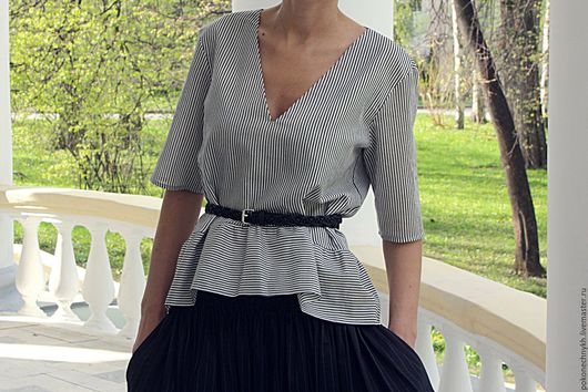 Блузки ручной работы. Ярмарка Мастеров - ручная работа. Купить Блузка ИЗЯЩНЫЕ ПОЛОСКИ. Handmade. Чёрно-белый, стильная блуза