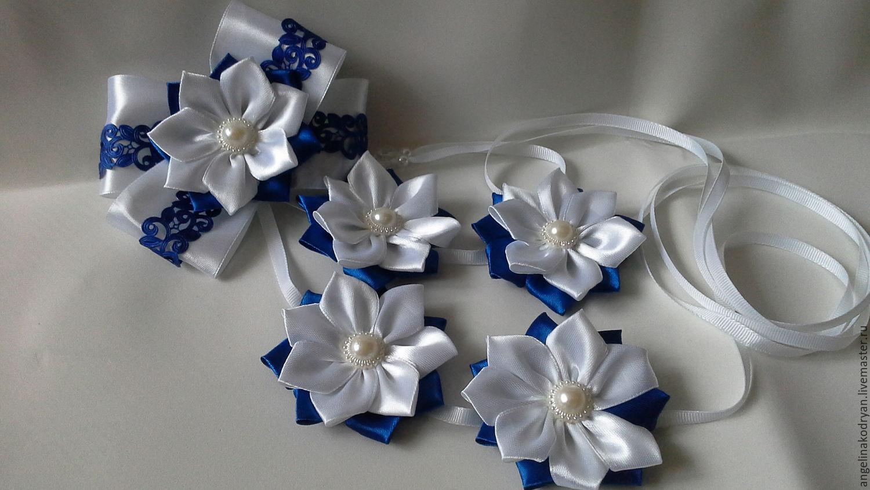 Ribbon in a braid blue and white for school, , Belgorod,  Фото №1