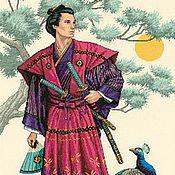 """НА ЗАКАЗ Картина вышитая крестом """"Могущественный самурай""""отDimensions"""