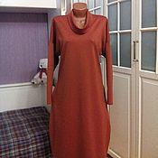 Одежда ручной работы. Ярмарка Мастеров - ручная работа Трикотажное платье оверсайз Терракотовое. Handmade.